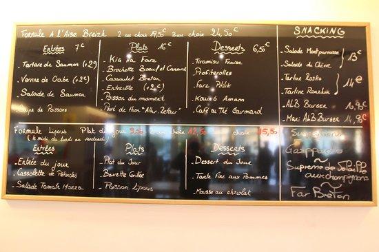 The Menu At A L Aise Breizh Cafe Picture Of A L Aise