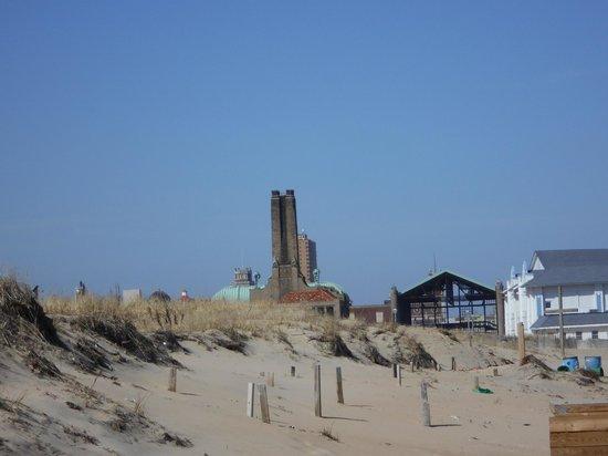 View of the Asbury Park Casino from Ocean Grove Beach