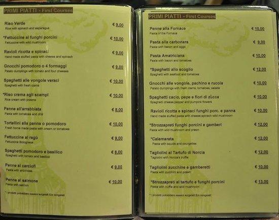 La Fornace: il menu