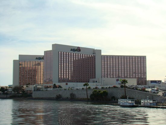 Nice view of the Aquarius Casino Resort, taken from a boat on the river.