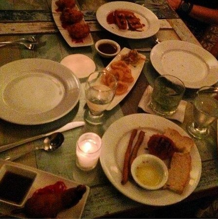 Las Clementinas Cafe & Bar : Dinner at Las Clementinas - corn dogs on lower left!!