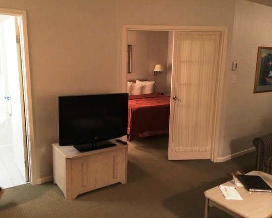 Quality Suites Montreal Aeroport : closed bedroom and tv area