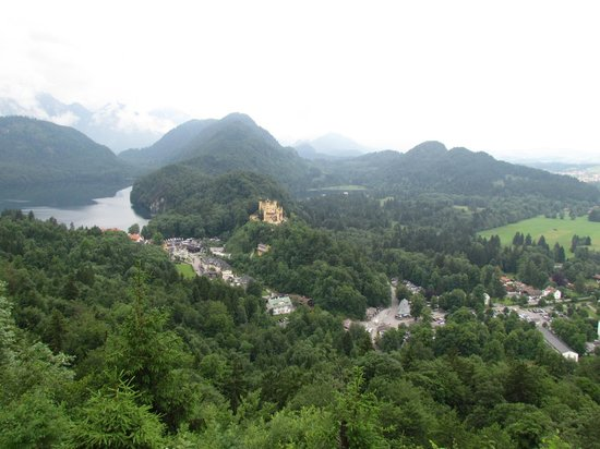 Neuschwanstein Castle: View from inside the castle of the surrounding valley