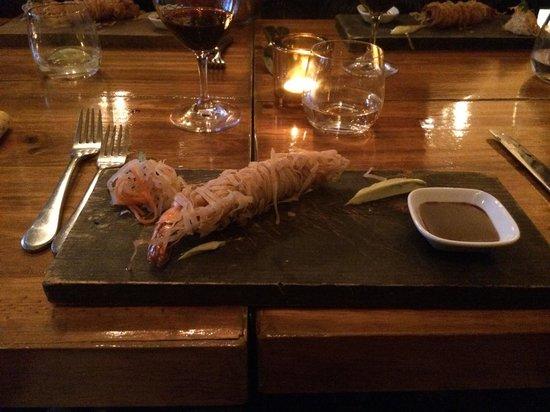 Mezcla : Philo crusted shrimp
