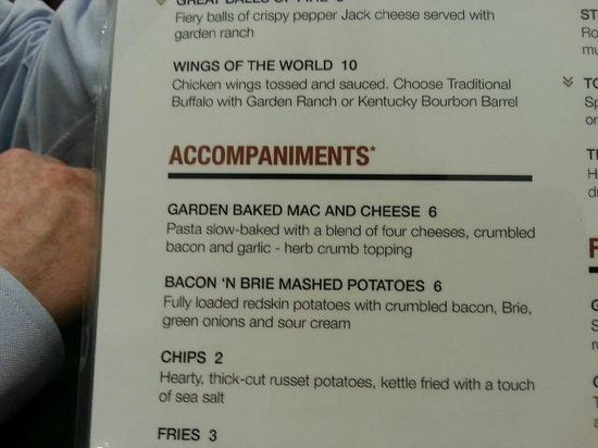 The Garden Grille U0026 Bar: Nice Description Of Kraft Mac N Cheese