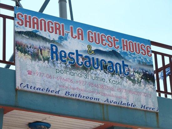 Shangri-la Guest House & Restaurant: Вывеска