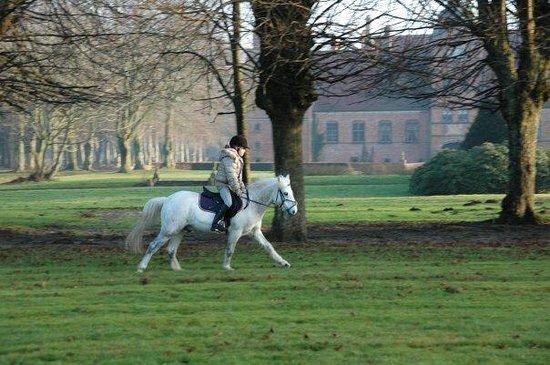 Rosenholm Slot : Den lille baronesse rider i parken