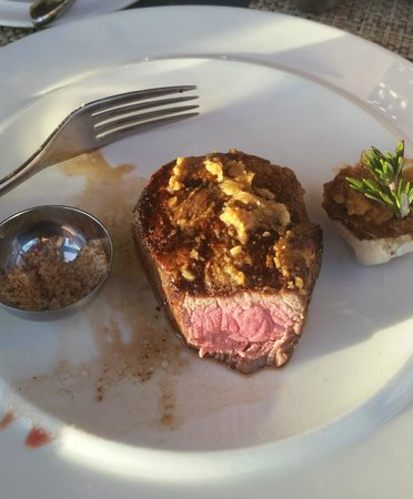 Boa Steakhouse: Perfect steak with bacon salt and roasted garlic.