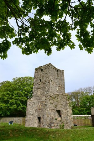 The ruinous church tower at Rushen Abbey