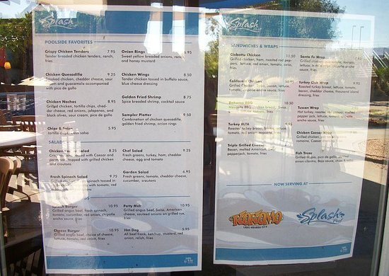 London Bridge Resort : Splash Grill Menu