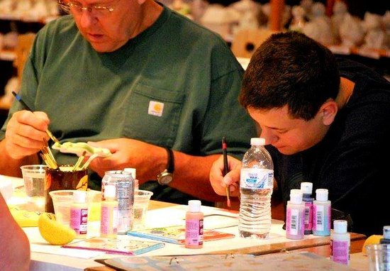 Crackpots Pottery Studio: Yes, even dudes love doing art projects and is 1 of the reasons we've been voted Best Family Out