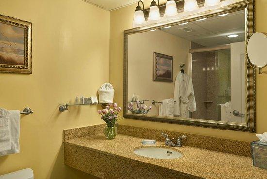Hotel Rehoboth : Lake Ave interior bathrooms w/walk-in shower & single sink