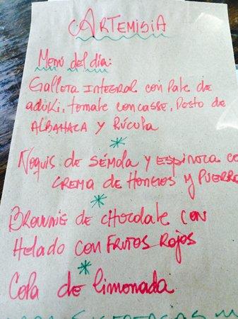 Artemisia Cocina Natural : El menú de hoy, 14 de mayo 2014