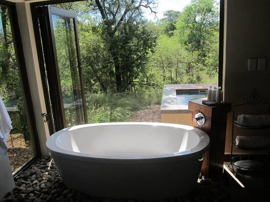 Raptor Retreat Game Lodge : View from bathroom