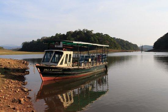 Periyar Lake: A smaller boat on river