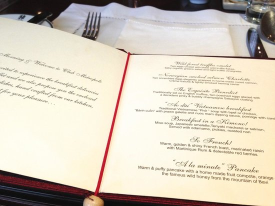Sofitel Legend Metropole Hanoi : breakfast menu in club level