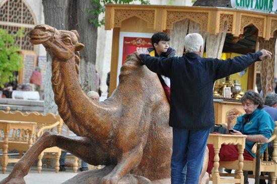 Lyab-i-Hauz: Grandpa with a grandson