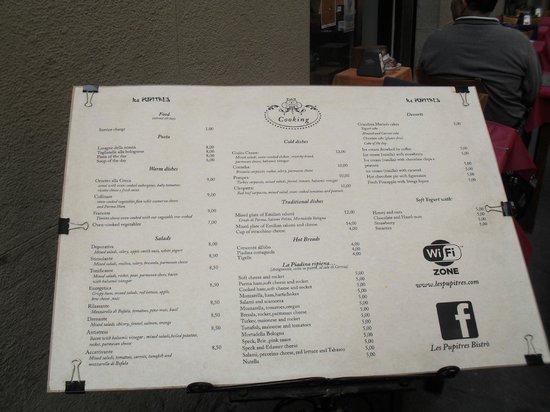 Les Pupitres Bistro: carta menu
