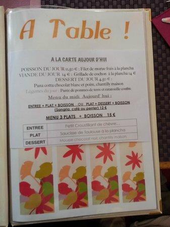 A Table : la Carte - Page 1/3