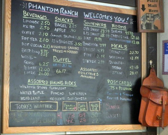 Phantom Ranch : The Lodge Menu