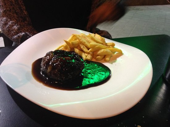 El Rosario: Ox tail burger with a chocolate and truffle sauce paired with fries infused with Japanese pepper