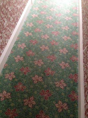Castle Hotel: Hallway heading to room [tastless decor]