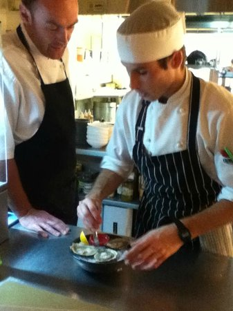 Charley Noble Eatery & Bar: Commis Chef Geordie and Head Chef Darren Shead at work