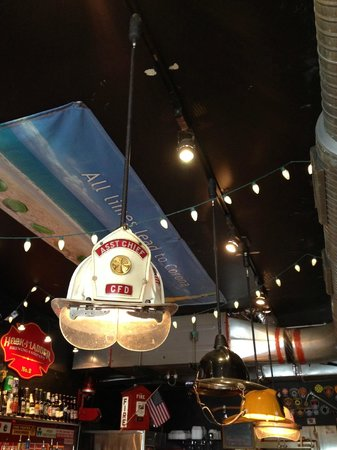 The Halligan Bar and Grill: hats for light fixtures