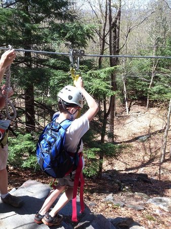 Berkshire East Canopy Tours: My son wanted to be first on every zipline