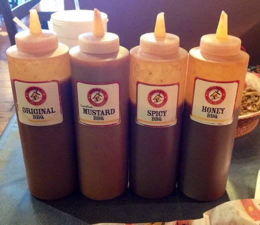Shane's Rib Shack: Selection of sauces.
