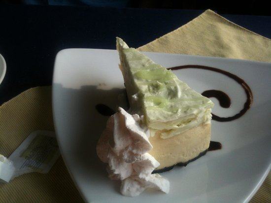 Water's Edge Restaurant: Key Lime Cheesecake with a chocolate crust