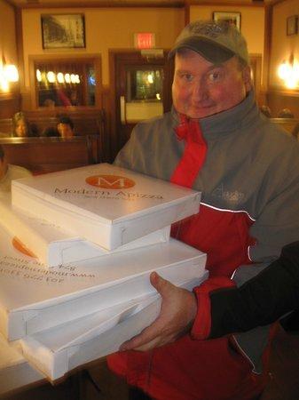 Modern Apizza: We always take a few home for the freezer....