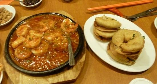 The Red Pepper: the fried prawns and the onion pancakes