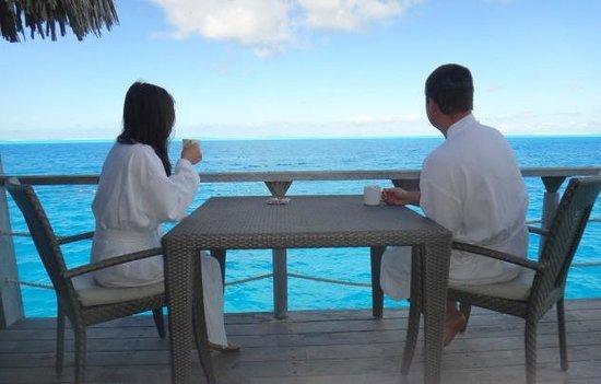 Conrad Bora Bora Nui : Morning coffee on our deck