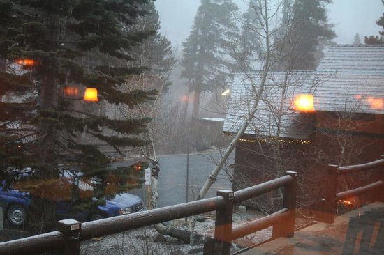 The Lakefront Restaurant: Flurries made us feel like we were in a snow gobe.