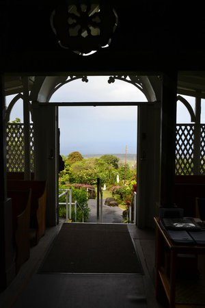 The Painted Church: Looking out entrance over Kealekakua Bay