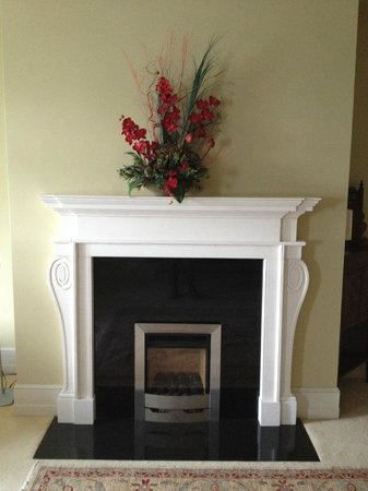 Knockranny House Hotel: The fireplace in our sitting room