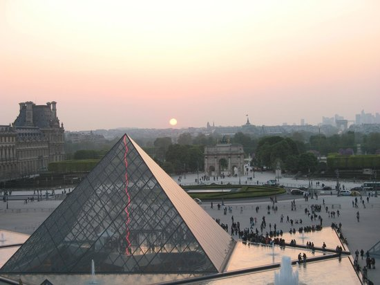 Louvre Museum: View from inside the Louvre at sunset