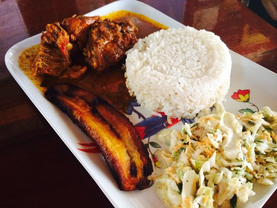 Ko-Ox Han nah: Stewed chicken with fries plantain and coleslaw