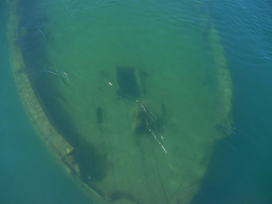 Glass Bottom Shipwreck Tours: Shipwreck from upper deck