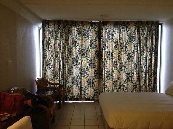Novotel Suva Lami Bay : This is what the hotel thought was block out curtains.  Does not fit the window.  Dirty.