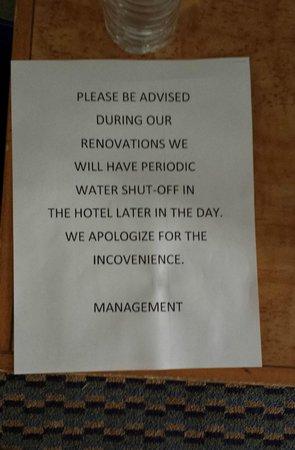 Comfort Inn - Highway 401: Water was shut off