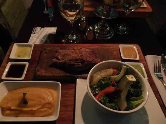 Uchu Peruvian Steakhouse: Steak meal, with sweet potato mash and salad