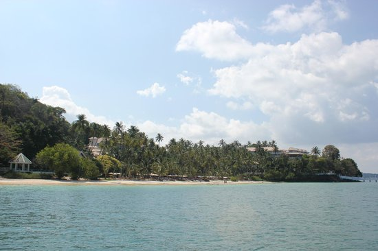 Cape Panwa Hotel : View of Hotel and Beach from Coral Island Boat