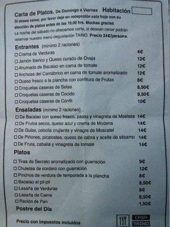 Casa Taino: carta de precios del restaurante