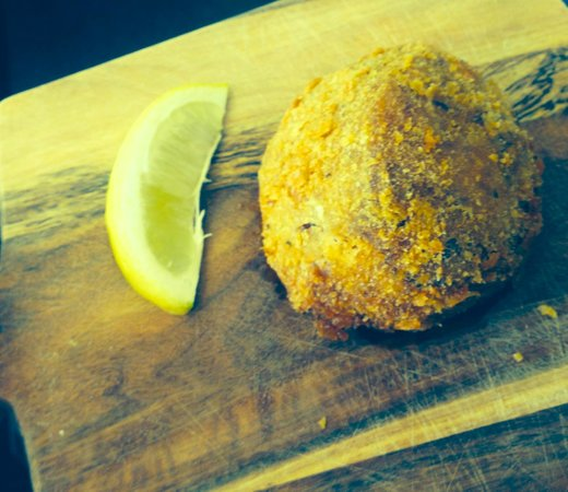 The Lime Crab: Our homemade Rissoles with Piper mash , Chorizo , bacon and fresh herbs