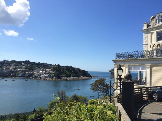 The view of Polruan and out to sea from the Fowey Hotel car park.