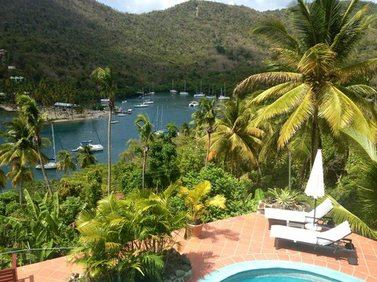 Marigot Palms Luxury Caribbean Guesthouse and Apartments : View from upper terrace