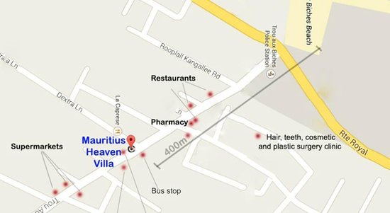 Mauritius Heaven Bungalows: Site plan with facilities