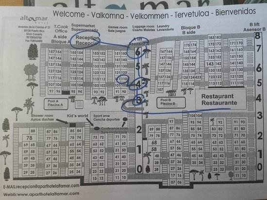 Hotel Altamar : Map of the complex - dont get a room next to the lifts!